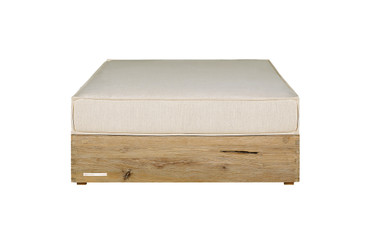 AIKO Comfort Ottoman - Drift-look teak legs (original), Sunbrella cushion (white canvas)