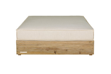 AIKO Deep Ottoman - Drift-look teak legs (original), Sunbrella cushion (white canvas)