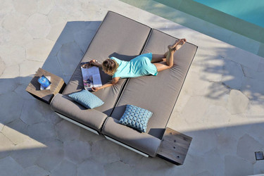 AIKO Loungers with small rolling tables - Drift-look teak legs (original), Sunbrella cushion (taupe canvas)