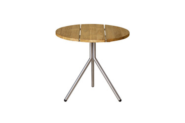 BONO Side Table - Stainless Steel, Recycled Teak (brushed finish)