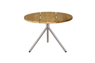 BONO Low Table - Stainless Steel, Recycled Teak (brushed finish)