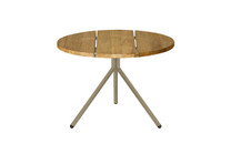 BONO Low Table - Powder-Coated Aluminum (taupe), Recycled Teak (brushed finish)