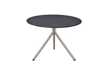 BONO Low Table - Stainless Steel (hairline finish), HPL top (slate)