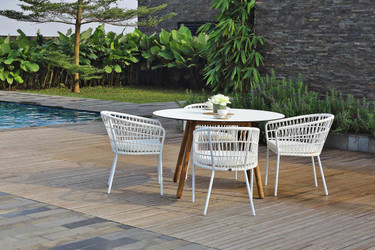 BONO Dining Table with BONO Dining Chairs - Recycled Teak, High Pressure Laminate (HPL) in white