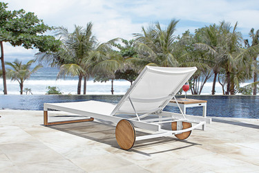 EKKA Lounger - Plantation Teak (smooth sanded), Powder-Coated Aluminum (white), Batyline Mesh Sling (white)