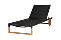 EKKA Lounger - Plantation Teak (smooth sanded), Powder-Coated Aluminum (black), Mesh Sling (black)