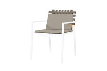 EKKA Stacking Armchair - Powder Coated Aluminum (white), Batyline Mesh Sling, Keops Webbing, Optional Olefin Cushion set