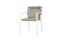 EKKA Stacking Armchair - Powder Coated Aluminum (white), Plantation Teak, Keops Webbing, Optional Olefin cushion set