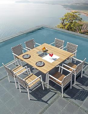EKKA Stacking Armchair with EKKA square dining table