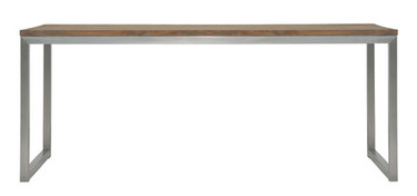 """ICON Dining Table 78.5"""" x 35.5"""" - Stainless Steel, Recycled Teak"""
