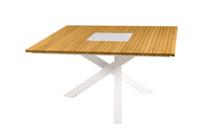 EKKA Square Dining Table - Powder Coated Aluminum (white), Plantation Teak Top