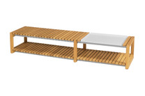 EKKA Long Coffee Table - Plantation Teak with Powder-Coated Aluminum Tray