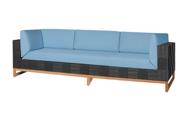 EKKA Sofa 3-Seater - Twitchell Textiline (Royal Black), Sunbrella Canvas Cushions (Mineral Blue)