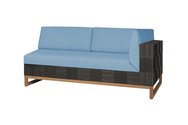 EKKA Left Hand Sectional  - Twitchell Textiline (Royal Black), Sunbrella Canvas Cushions (Mineral Blue)