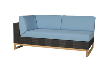 EKKA Right Hand Sectional  - Twitchell Textiline (Royal Black), Sunbrella Canvas Cushions (Mineral Blue)