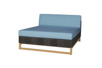 EKKA Sectional Chaise - Plantation Teak (smooth sanded), Batyline or Textilene Mesh, Sunbrella Canvas (mineral blue)