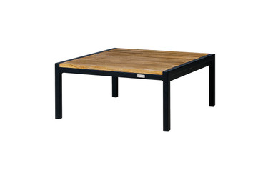 JAYDU End Table - Powder-Coated Aluminum (black), Recycled Teak (smooth sanded)