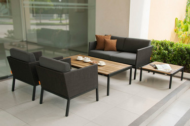 JAYDU 1 and 2-Seaters with JAYDU End and Coffee Tables - Powder-Coated Aluminum, Twitchell Upholstery, Sunbrella Cushions