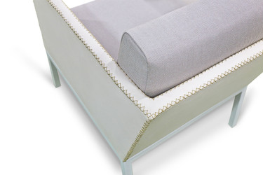 JAYDU 1-Seater (detail) - Powder-Coated Aluminum (white), Stamskin Faux Leather Upholstery (white), Sunbrella Cushions (seagull grey)
