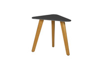 KAAT Side Table - Powder-Coated Aluminum (anthracite), Plantation Teak (smooth sanded)