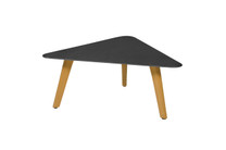 KAAT Medium Coffee Table - Powder-Coated Aluminum (black), Plantation Teak (smooth sanded)