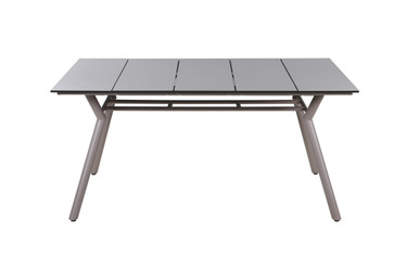 "MANDA Dining Table 63.5"" x 39.5"" - Powder-Coated Aluminum (taupe), High Pressure Laminate Top (sandstone)"