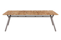 "MANDA Dining Table 88.5"" x 39.5"" - Powder-Coated Aluminum (taupe), Recycled Teak (brushed laminated)"