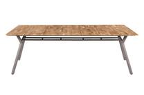 """MANDA Dining Table 88.5"""" x 39.5"""" - Powder-Coated Aluminum (taupe), Recycled Teak (brushed laminated)"""