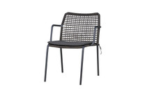MANDA Chair Woven -  Powder-Coated Aluminum (black), Optional Padded Cushion