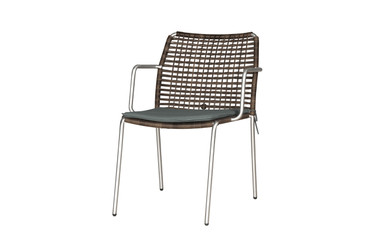 MANDA Chair Woven -  Stainless Steel (hairline finish), Optional Padded Cushion