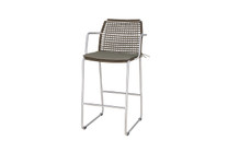 MANDA Bar Armchair - Stainless Steel (hairline finish), Synthetic Wicker (pepper), Optional Cushion (taupe)