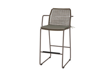 MANDA Bar Armchair - Powder-Coated Aluminum (anthracite), Synthetic Wicker (pepper), Optional Cushion (taupe)