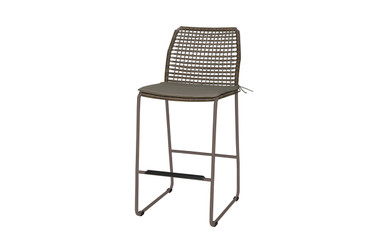 MANDA Bar Side Chair with Optional Cushion (taupe) - Powder-Coated Aluminum (taupe), Synthetic Wicker,