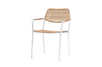 MEIKA Wicker Dining Armchair - Stainless Steel (hairline finish), Recycled Teak (brushed finish), Synthetic Wicker Weaving (honey)