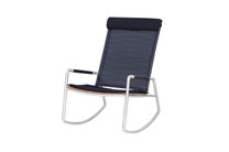 MEIKA Rocking Chair (with Optional Headrest/Seat Cushion) - Stainless Steel (hairline finish), Recycled Teak (brushed finish), Batyline Sling Mesh (black)