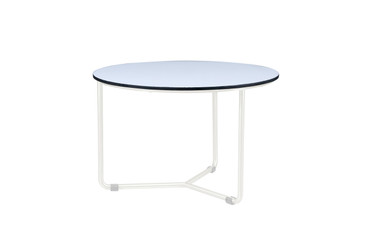 MEIKA Side Table - Stainless Steel (hairline finish), HPL top (alpes white)