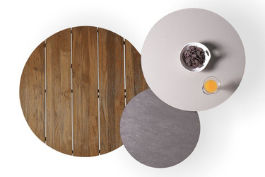 MEIKA nesting Side, Coffee and Low Tables (birds-eye view) - Recycled Teak (coffee table), High Pressure Laminate (low and side tables)
