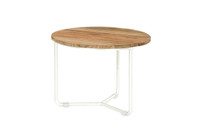 MEIKA Side Table - Stainless Steel (hairline finish), Recycled Teak (brushed finish)