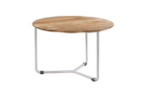MEIKA Coffee Table - Stainless Steel (hairline finish), Recycled Teak (brushed finish)