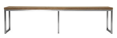 """OKO Bench 73"""" - Stainless Steel, Recycled Teak"""