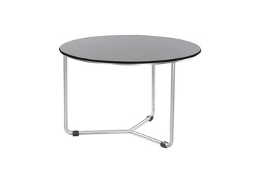 MEIKA Coffee Table - Stainless Steel (hairline finish), HPL top (slate)