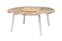 MEIKA Round Dining Table - Stainless Steel (hairline finish), Recycled Teak (brushed finish)