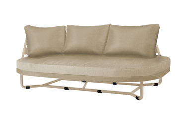 MEIKA Right Hand Daybed - Powder-Coated Stainless Steel (taupe), Twitchell Leisuretex webbing upholstery (taupe), Sunbrella Canvas Cushions (taupe)