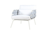 MEIKA Sofa 1-Seater - Stainless Steel (white), Twitchell Leisuretex webbing upholstery (grey), Sunbrella Canvas Cushions (white)
