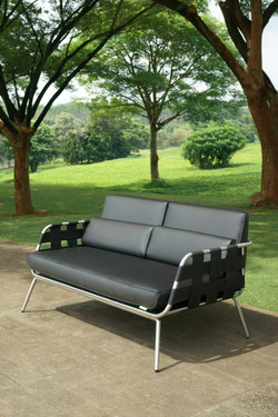 MEIKA Sofa Love Seat - Stainless Steel (hairline finish), Twitchell Leisuretex webbing upholstery (black), Stamskin Faux Leather Cushions (black)