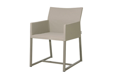 MONO Dining Chair - Powder-Coated Aluminum (taupe), Twitchell Leisuretex Upholstery (taupe)