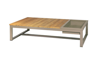 MONO Long Table with Ice Bin - Powder-Coated Aluminum (taupe), Recycled Teak (brushed finish)