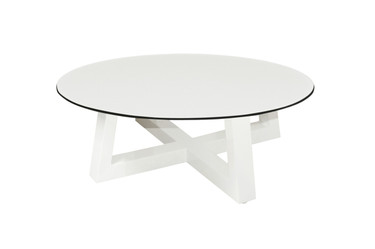 "MONO Lounge Table 27.5"" - Powder-Coated Aluminum (white), High Pressure Laminate (HPL - Alpes white)"