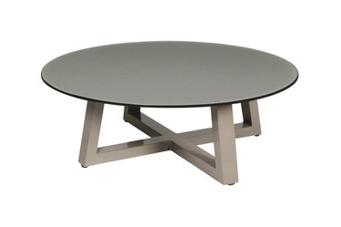 "MONO Lounge Table 43.5"" - Powder-Coated Aluminum (taupe), High Pressure Laminate (HPL - slate)"