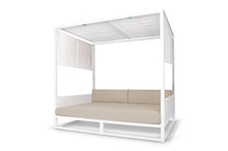 MONO Daybed - Powder-Coated Aluminum (white), Twitchell Leisuretex Upholstery (white), Sunbrella Canvas, Batyline